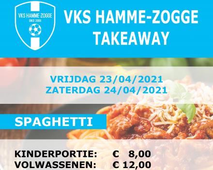 Spaghetti takeaway VKS Hamme-Zogge : vrijdag 23 en zaterdag 24 april